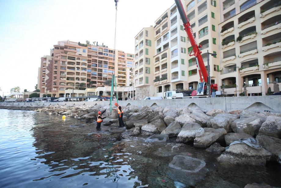 """Les cinq """"tide pool"""" ont été installées hier dans la journée au pied de l'avant-port de Fontvieille."""