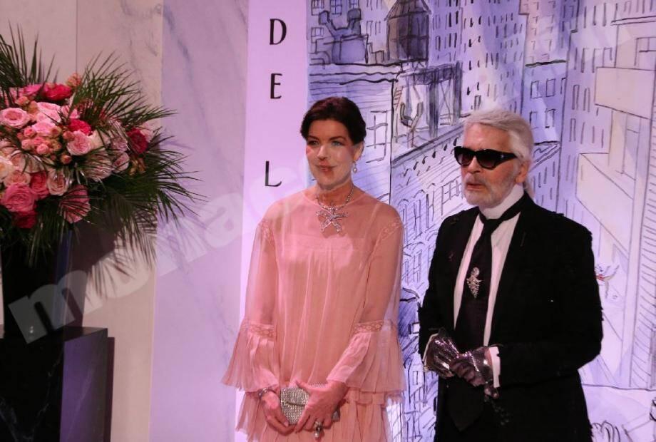 24 mars 2018 : la princesse et son ami ouvrent ensemble le Bal de la Rose sur le thème de New York. Ce sera l'ultime apparition publique du couturier en Principauté.
