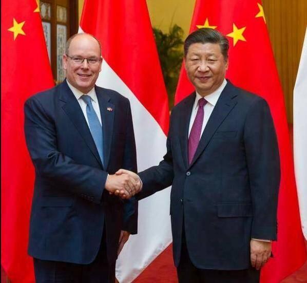 Le prince Albert et le président Xi Jinping.