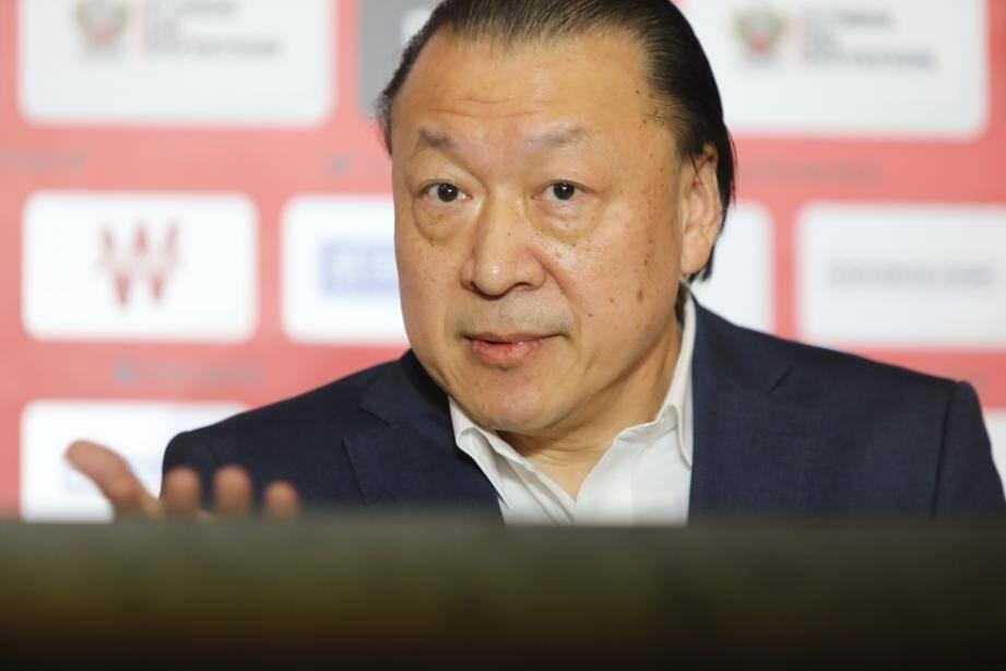 Conférence de pressse de l'OGC Nice du nouveau président du club Gauthier Ganaye et de l'investisseur sino-américan Chien Lee