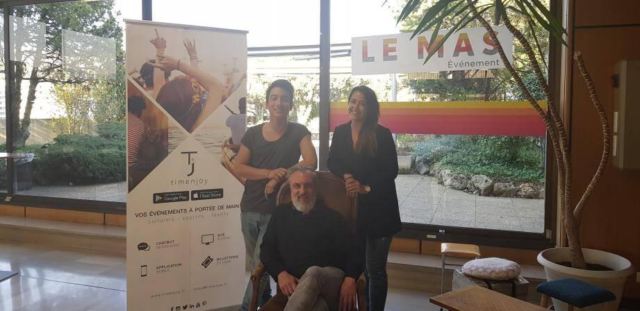 Axel Hutin, Alain Fagot et Mathilde Aylies, trois des quatre cofondateurs de la startup Timenoy, incubée au MAS Nice-Matin