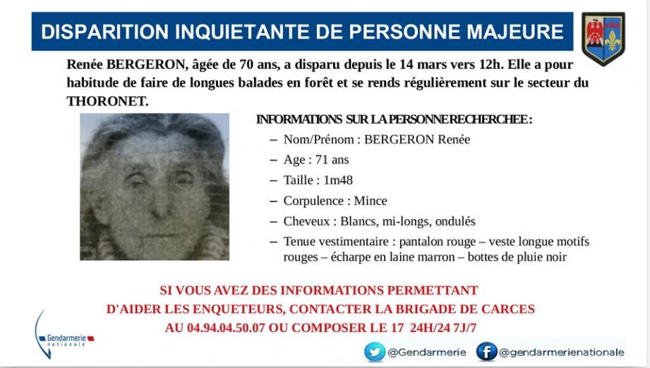 Renée Bergeron a été retrouvée saine et sauve.