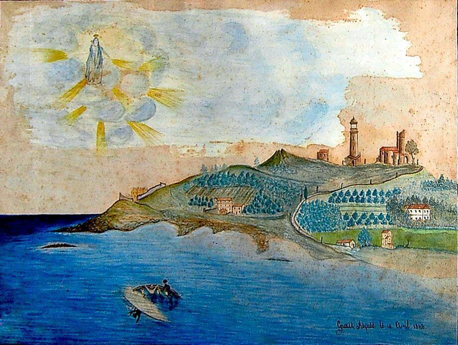 Cet ex-voto, document historique d'une grande richesse de détails, donne une image du plateau de la Garoupe, tel qu'il était autrefois. (Document Pierre Maghérini)