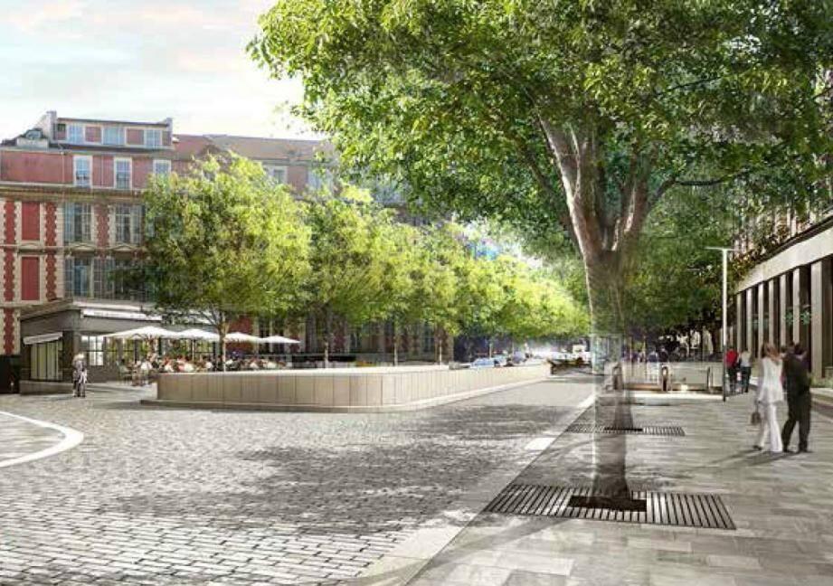 Une projection du boulevard Victor-Hugo après la fin des travaux.(Image de synthèse Métropole Nice-Côte d'Azur)