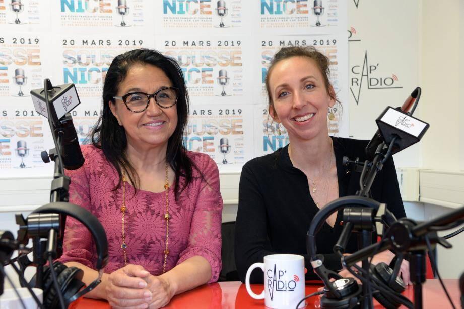 Tout est prêt pour le lancement, aujourd'hui, de l'opération « presse à l'école ». Y compris les studios de Cap Radio au rectorat de Nice. Directrice du Clémi, Lilia Parisot (à gauche) et Roxane Obadia, coordonnatrice, y ont veillé en organisant cette 30e édition. (DR)