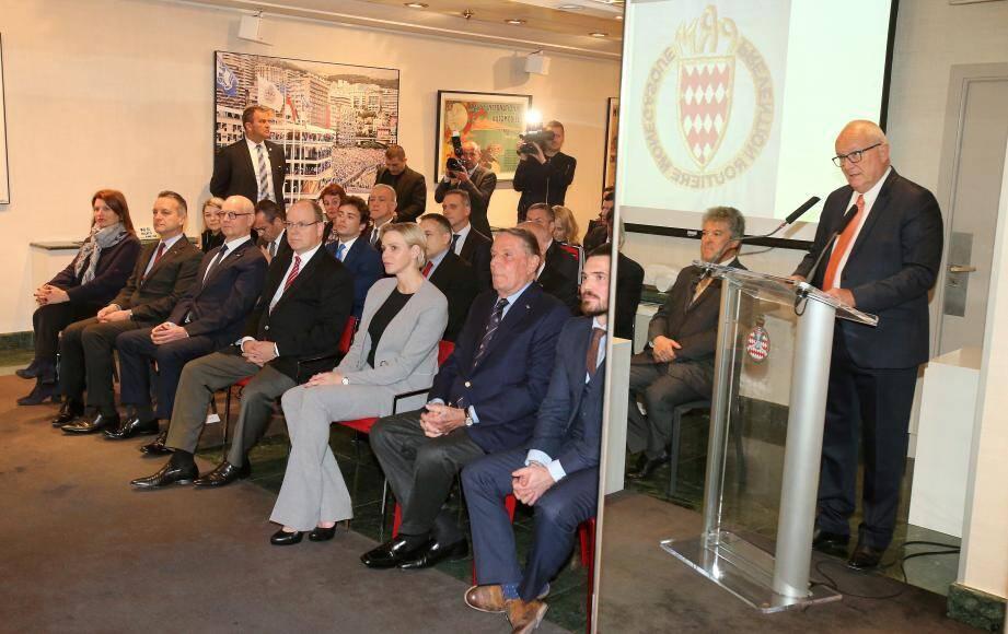 Le président de la Prévention Routière Monégasque, Patrick Rinaldi, a acceuilli le couple princier pour cette assemblée générale exceptionnelle.