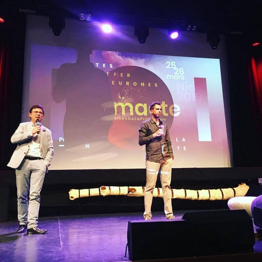 Franck Kerfourn, directeur de MediaSchool Nice, et Nicolas Martin, climatologue et géographe, responsable du master Air à l'Université Côte d'Azur, hier sur la scène de Climacte.(DR)