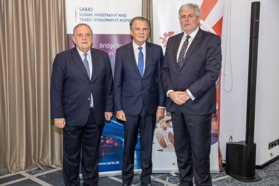 Le président du MEB, Michel Dotta, le président de la Chambre de commerce et d'industrie slovaque, Peter Mihok, et l'ambassadeur de Slovaquie en France et à Monaco, Igor Slobodnik, poursuivent un partenariat acté par deux accords économiques signés en 2015 et 2017.