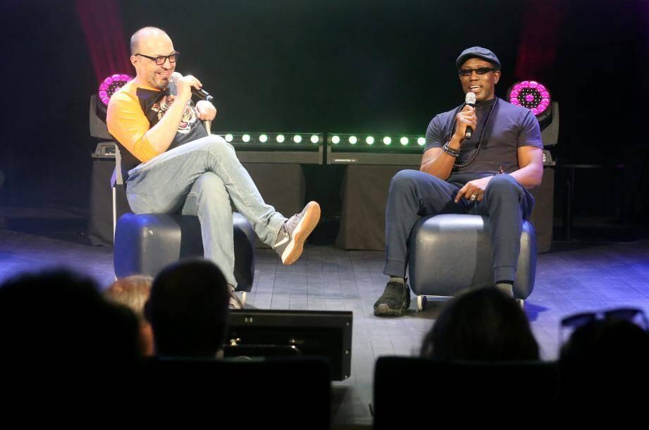 Wesley Snipes et Robert Milazzio (The Modern School of Film) ont discuté une petite heure devant un public nombreux au Grimaldi Forum.