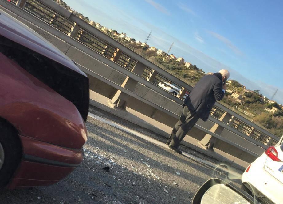 L'accident a impliqué trois véhicules sur le viaduc de Magnan.