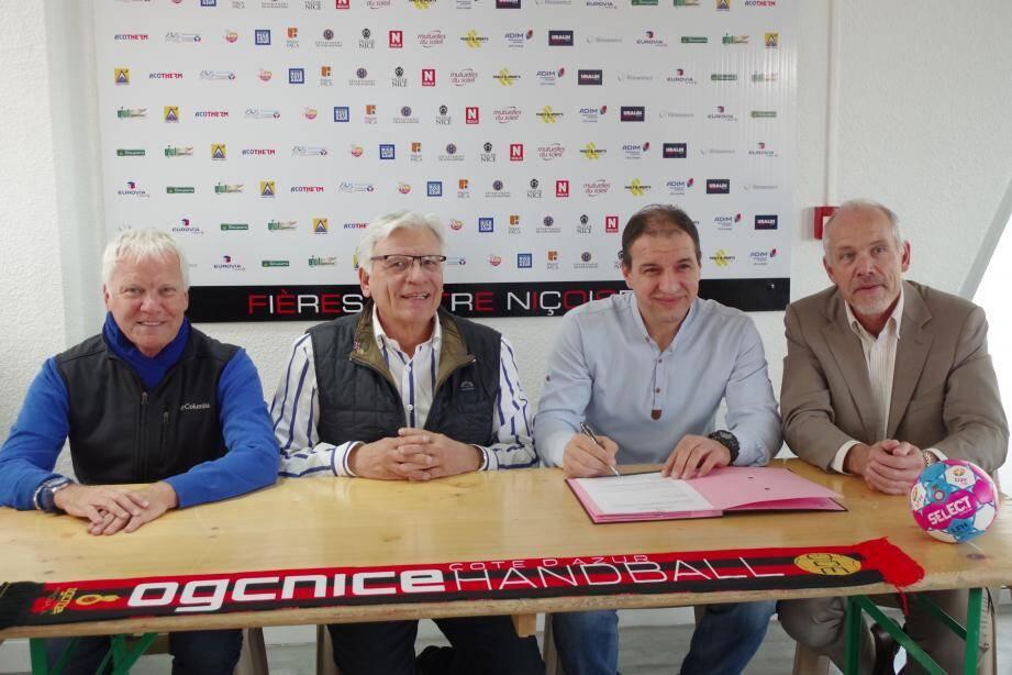 Patrick Boizet (administrateur en charge des finances), Ange Ferracci (président), Marjan Kolev (entraîneur) et Gilles Giribaldi (vice-président) : l'OGCN entend poursuivre sa belle progresssion.