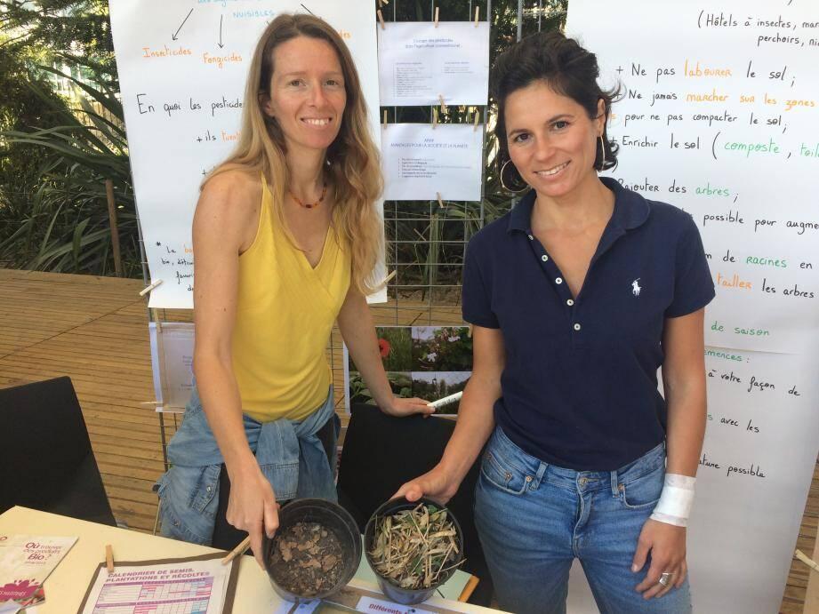 Marine et Jennifer, de l'association Shilakong, qui initie les particuliers à la permaculture : une façon naturelle de cultiver son jardin.