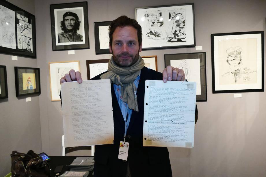 Cyril Gaillard, spécialiste dans les autographes et les manuscrits originaux, est de retour au salon avec notamment deux textes de chansons écrits par Georges Brassens.