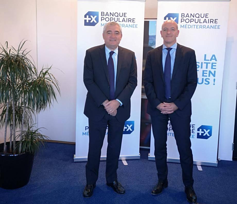 Philippe Henri, président de la Banque populaire Méditerranée, et Christophe Bosson, directeur général, souhaitent pérenniser l'image de la BP Med, celle d'une banque coopérative de proximité.