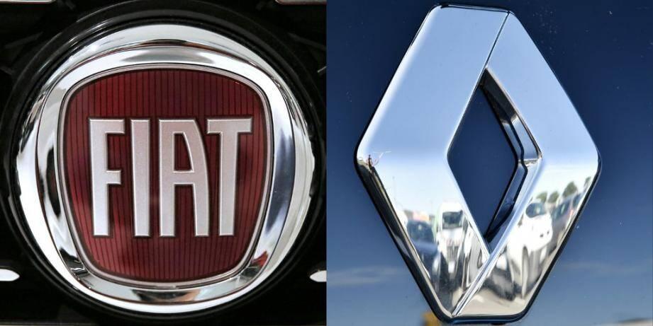 Les logos des marques Fiat et Renault.