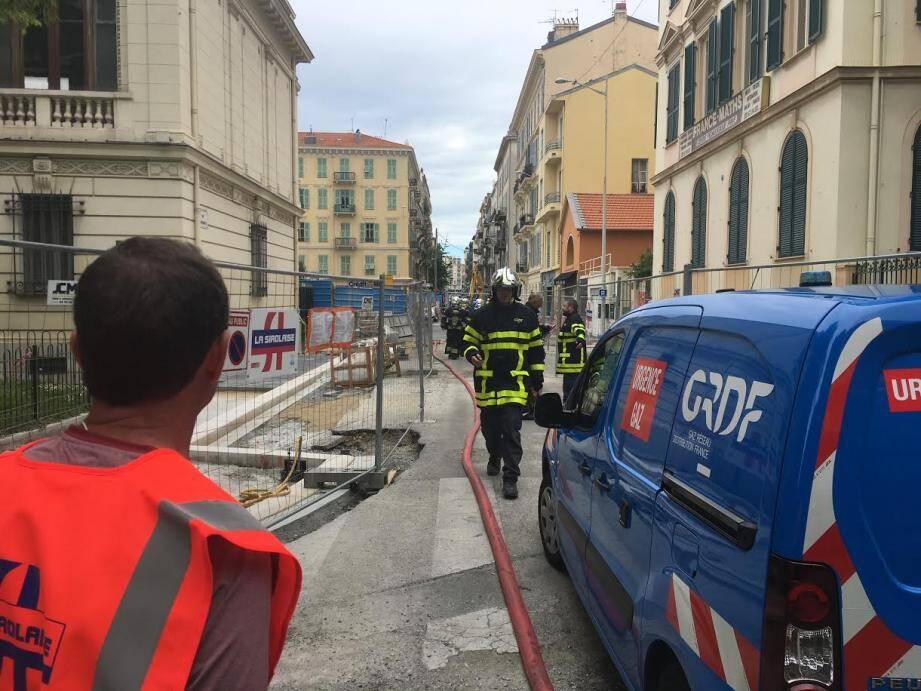Une conduite de gaz a été percée par un ouvrier en marge des travaux du tramway.