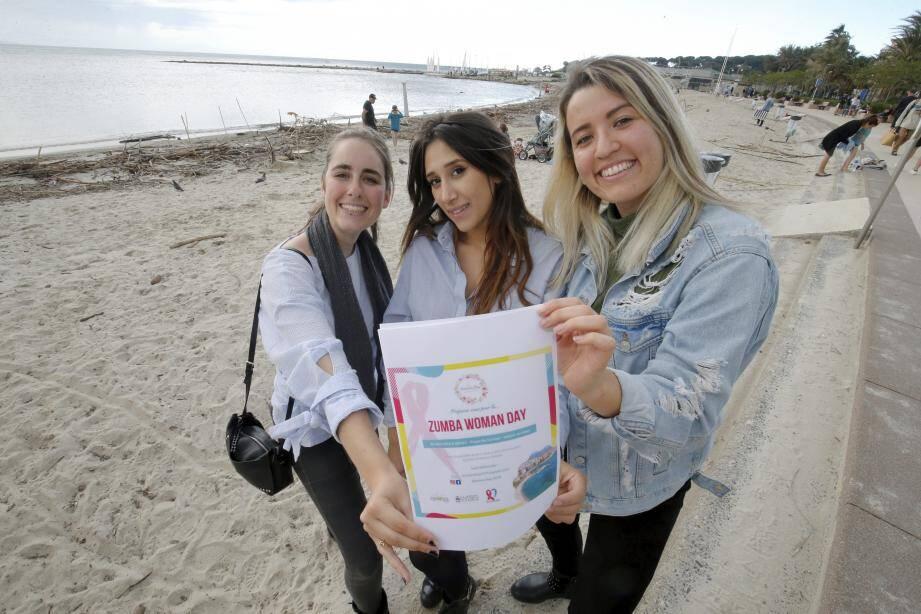 Mathilde, Nadia et Axelle, ainsi que trois autres étudiantes de l'Idrac business school, organisent la manifestation WomanDay, samedi sur la plage du Ponteil.