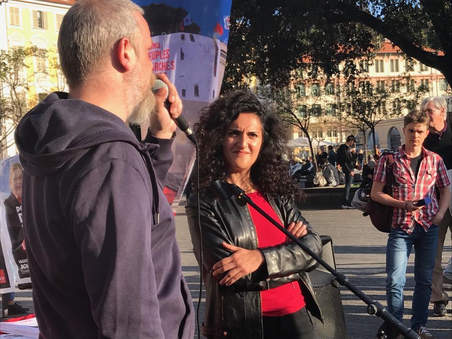 Maryam Madjidi sur la place Garibaldi hier soir.