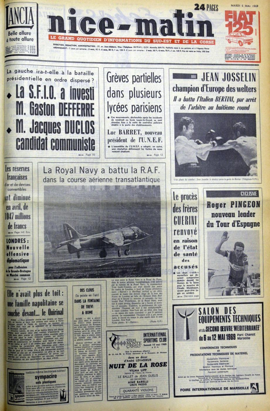 A la « Une » de Nice-Matin du 6 mai 1969 : les présidentielles approchent ! (Repro DR)