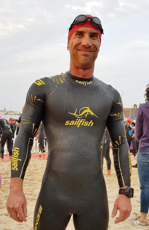 David Blanc à la sortie de l'eau.
