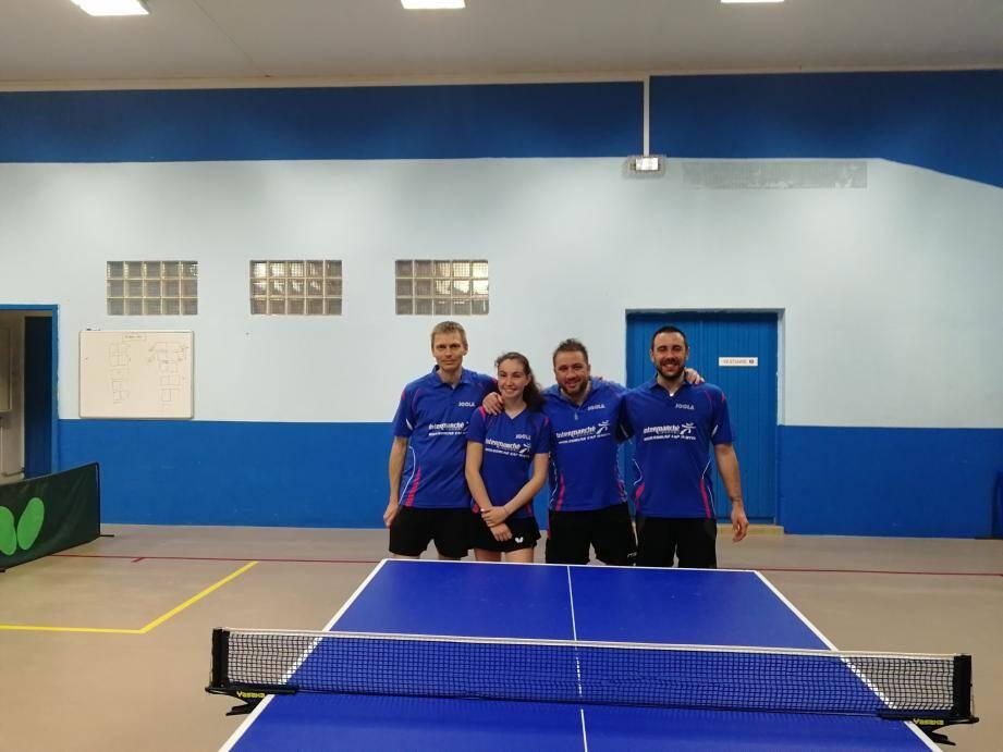 L'équipe 2 qui évolue en régionale composée d'Olivier Perret, Marine Le Joliff, Grégory Sahuc et Guillaume Braquet. (DR)