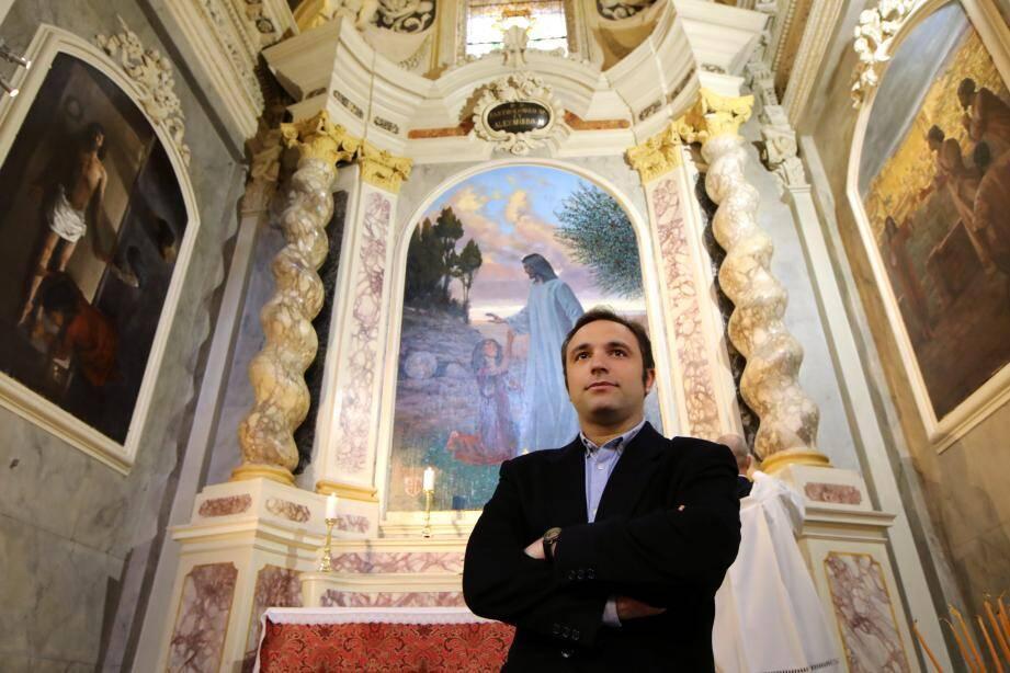 Le triptyque d'Hugo Bogo a été inauguré, hier, dans la chapelle Saint-Bartélémy de la cathédrale Sainte-Réparate, cœur du diocèse de Nice. C'est le seul artiste contemporain à avoir réalisé une œuvre pour l'église. Une exposition retrace les étapes de la réalisation de ces trois tableaux.