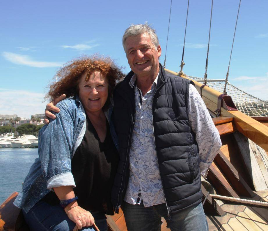 Valérie Mairesse et Erick Leclerc lors de la visite du bateau.