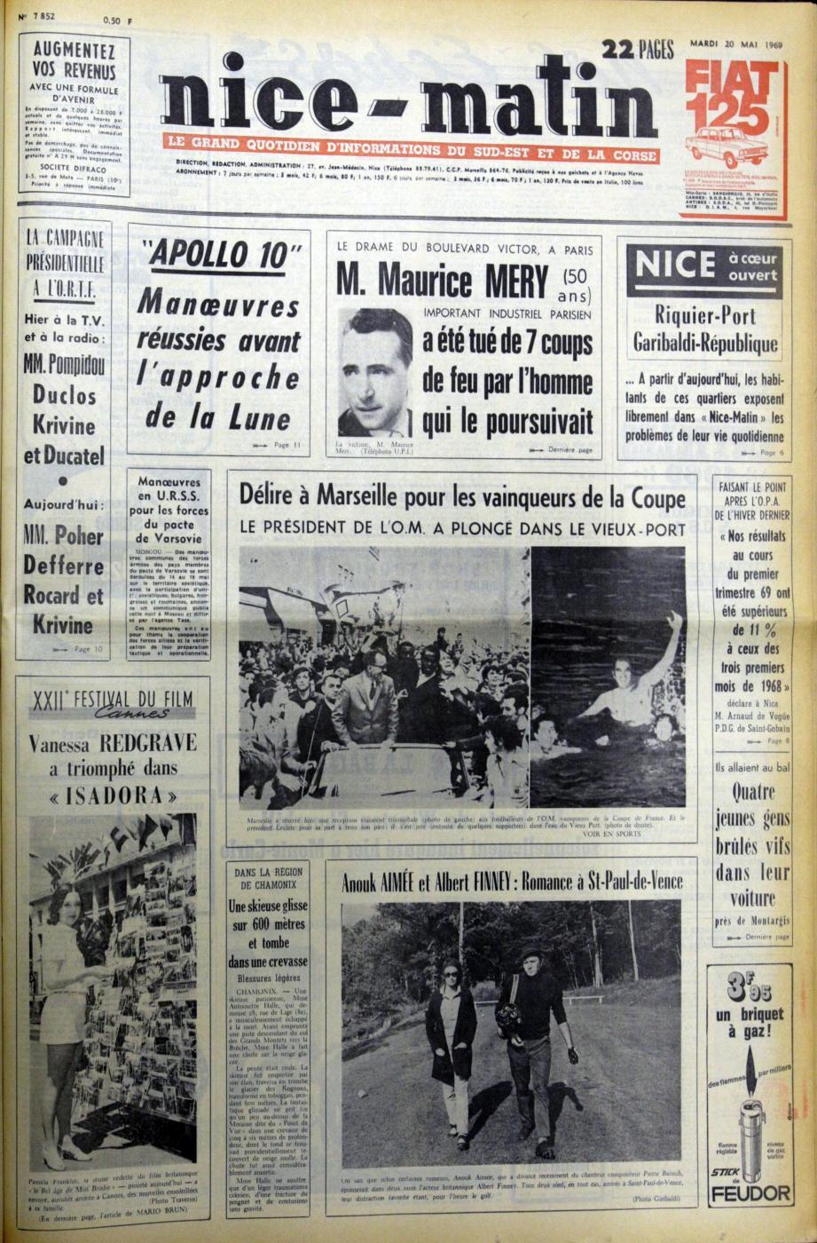 À la « Une » de Nice-Matin du 20 mai 1969.(Repro DR)