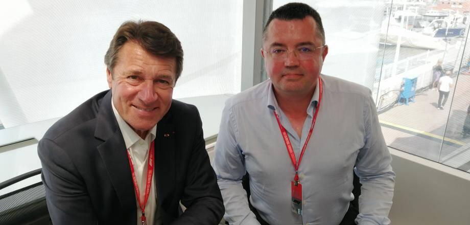 Christian Estrosi et Eric Boullier, les deux chevilles ouvrières du GP de France, hier, dans le motorhome Alfa Romeo, à Monaco.