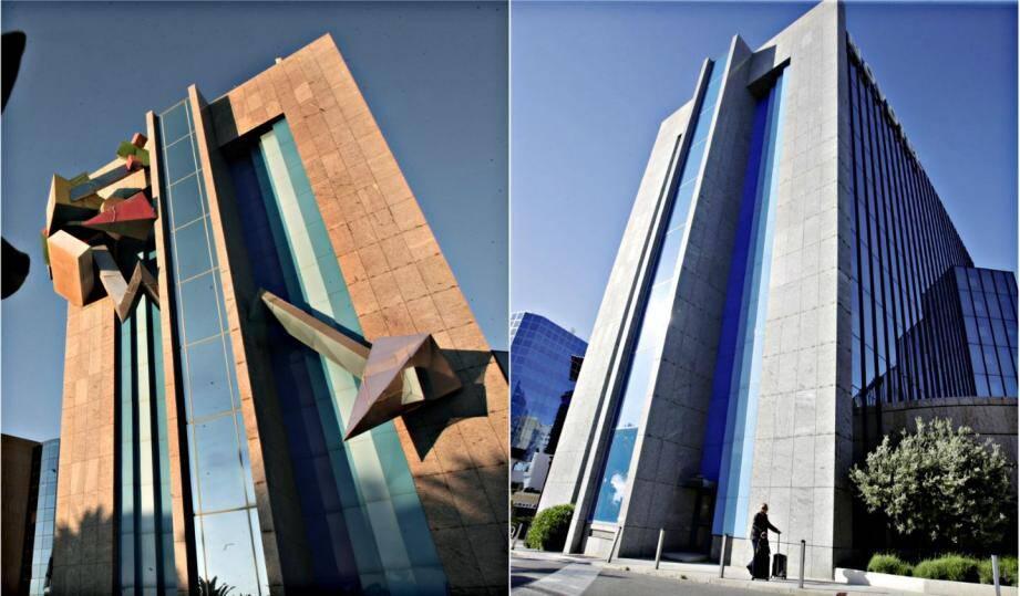 L'œuvre de Jean-Claude Farhi a dû être démontée. Une entreprise réclame 125.000 euros à sa veuve. A droite, la façade de l'hôtel telle qu'elle apparaît aujourd'hui.