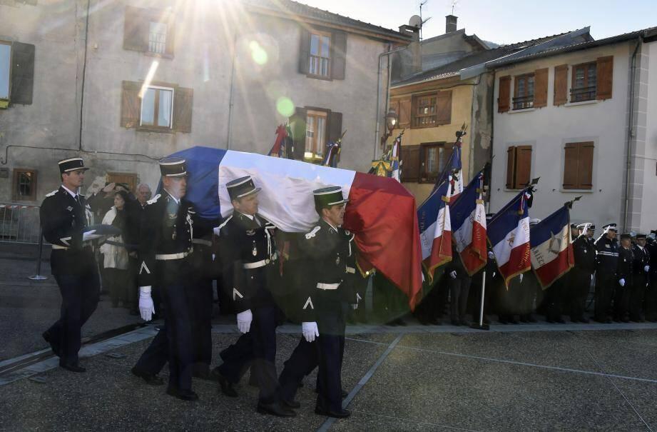 Lors des obsèques du major Christian Rusig le 30 novembre 2016.