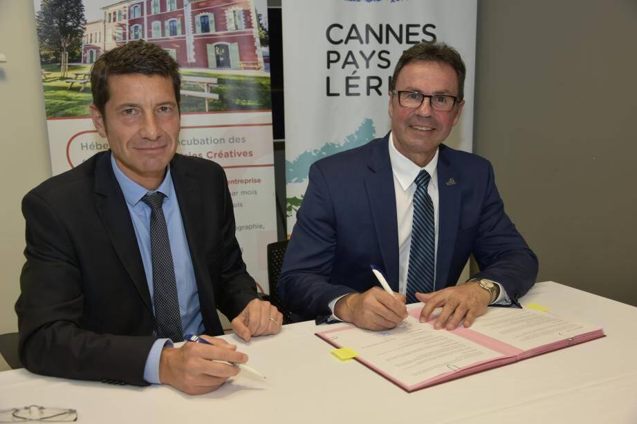 David Lisnard, président de l'Agglomération Cannes Lérins, et Michel Angers, maire de Shawinigan