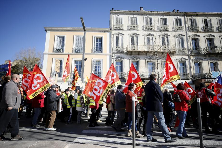 Manifestation de la CGT et des gilets Jaunes.à Draguignan contre la réforme de la fonction publique.