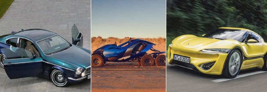 De gauche à droite: la dernière vintage 100% sur-mesure de Bilenkin, la Ferox Azaris à six roues et l'électrique Quantino roulant à l'eau salée, seront présentes au salon Top Marques de Monaco.