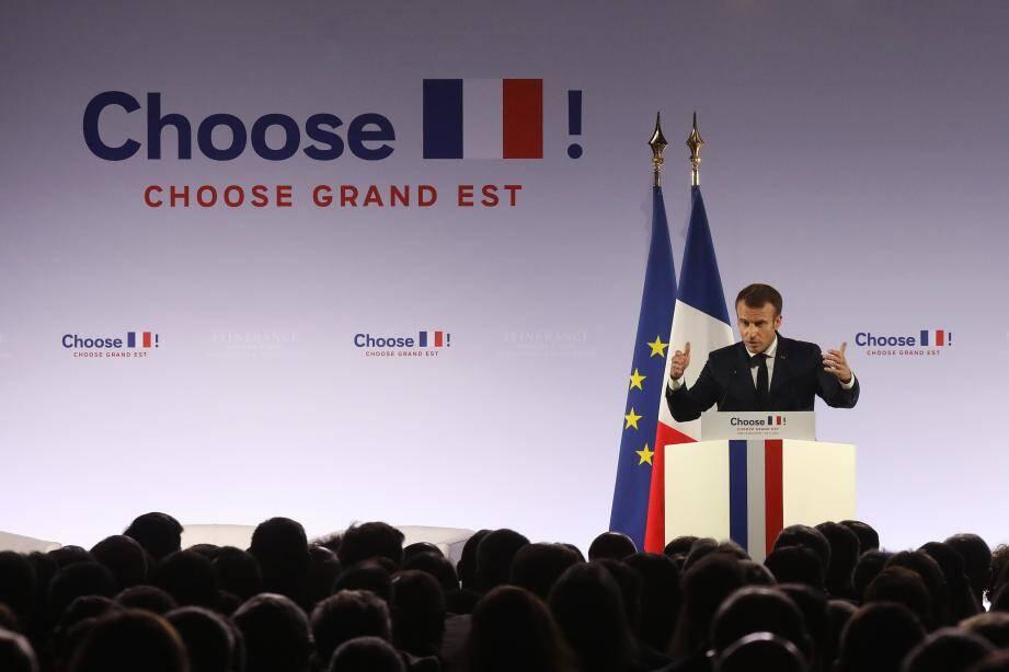 Emmanuel Macron lors de son discours à Pont-a-Mousson pour