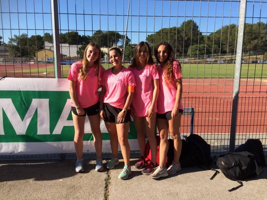 L'équipe minime de relais du collège Canteperdrix, 14e aux championnats de France.DR