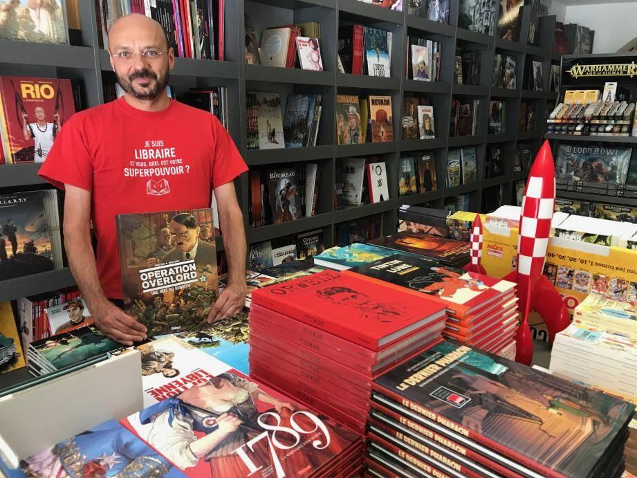 S'il doit prochainement ouvrir sa Galerie Falba, au 17 rue Paul-Lendrin (dans le local de l'ancien magasin Lilith), Bruno Falba ne compte pas fermer sa librairie de la place Puget, où il continuera de vendre des bandes dessinées de tous les genres, et notamment Une Nuit au Berghof, le dernier tome de sa série Opération Overlord.