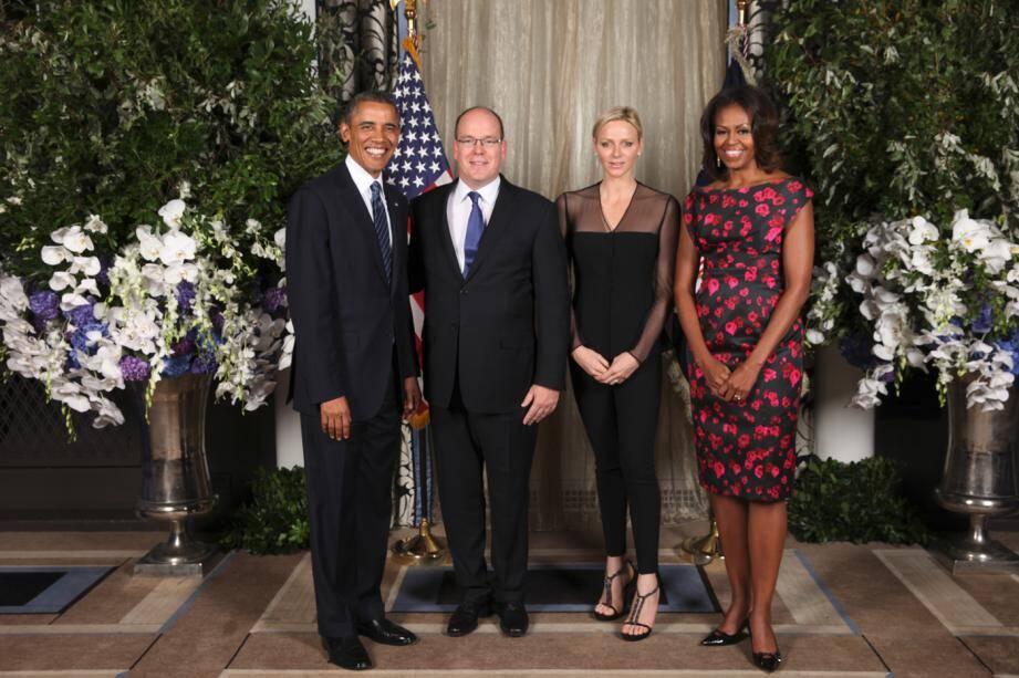 Le 23 septembre 2013, le couple princier avait été reçu par les Obama, à New York, lors du dîner de gala de la 68e assemblée générale de l'ONU.(Official White House Photo by Amanda Lucidon)