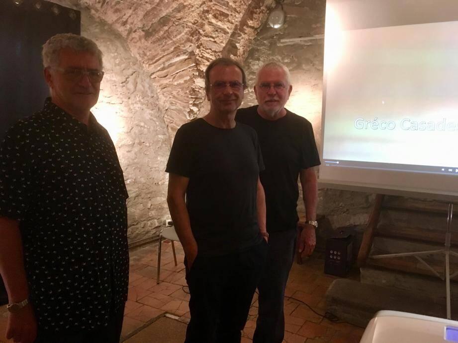 Gréco Casadesus ici avec le maire Jean-Jacques Courchet et son ami le cinéaste Bob Swain.