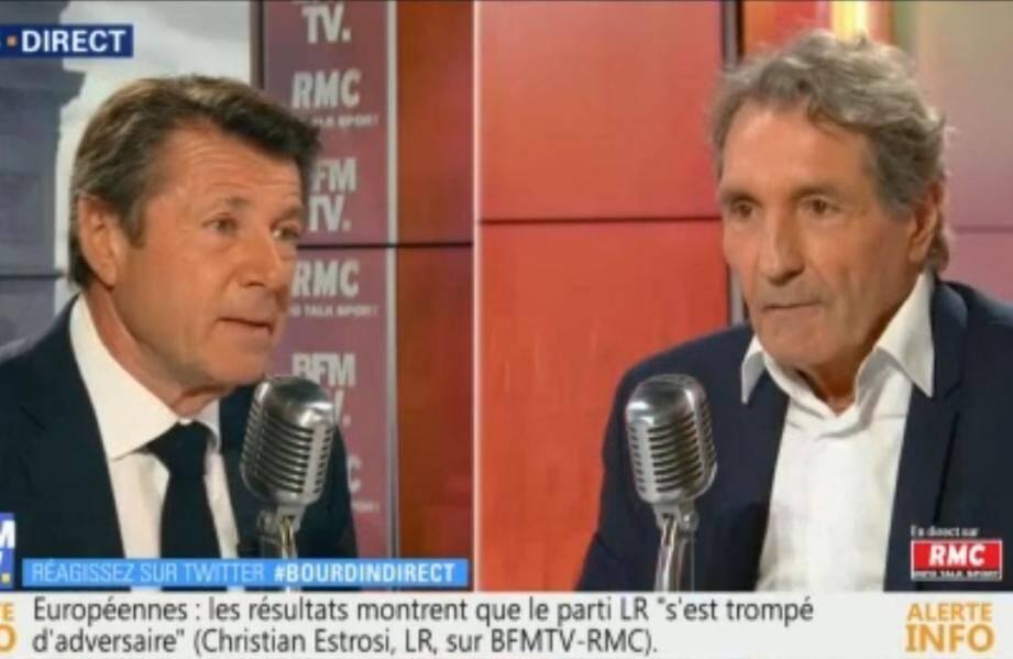 Le maire LR de Nice, Christian Estrosi, était l'invité de Jean-Jacques Bourdin ce mardi matin sur BFMTV et RMC.