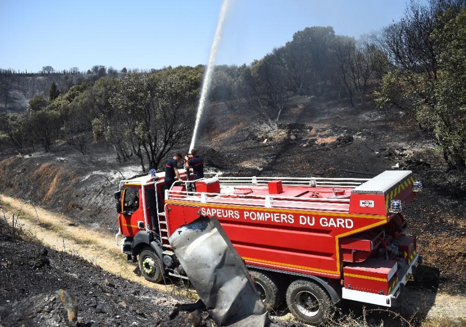 Les sapeurs-pompiers du Gard au travail dans la zone de Saint-Gilles, le 29 juin 2019.