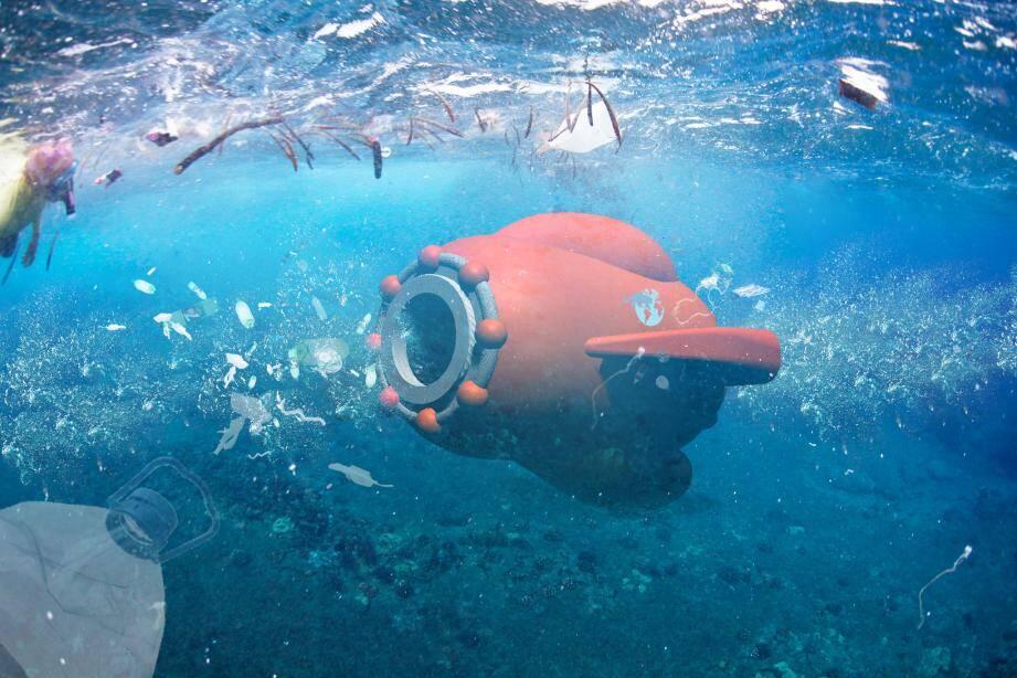 Des barges géantes et des drones-aspirateurs (8 mètres de long, 4,5  de haut) pour venir à bout du plastique en mer.