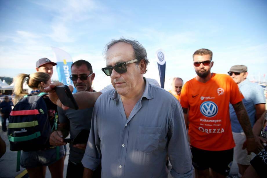Michel Platini au tournoi de Footy Volley d'Antibes le 8 septembre 2018.