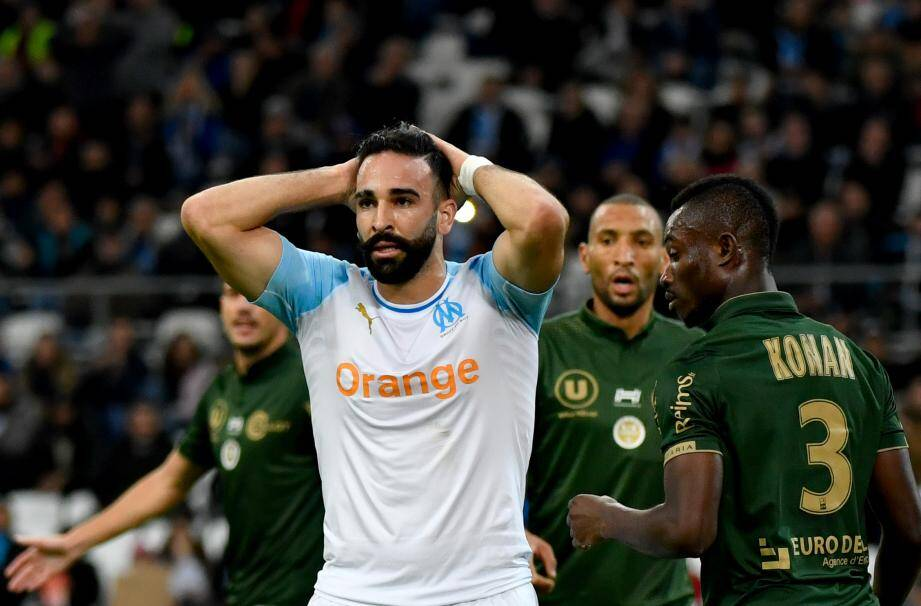 Adil Rami avec l'OM face à l'AS Monaco.
