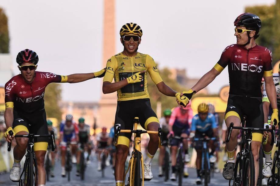 Egan Bernal lors de la dernière étape du Tour de France