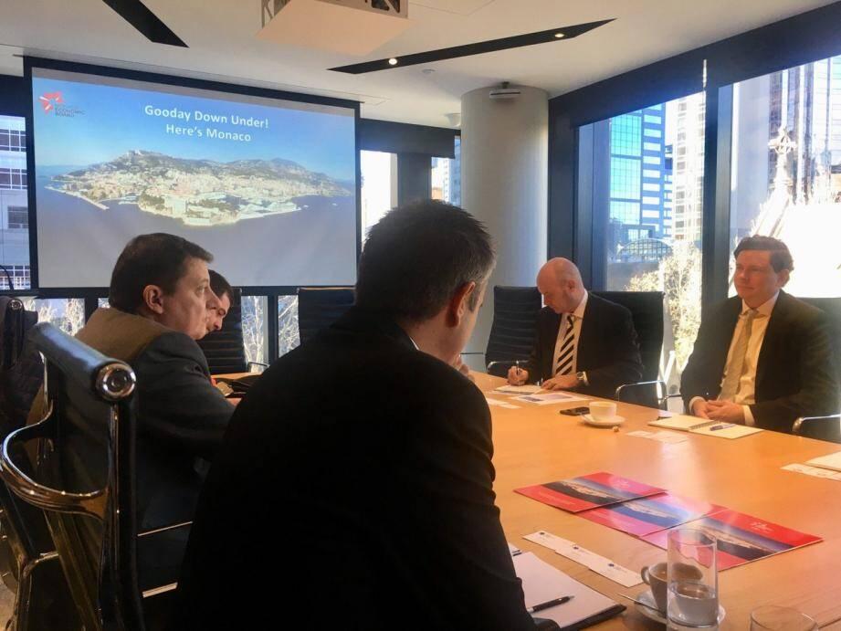 Réunion de travail avec la CCI de l'Etat de Victoria, en présence de Andrew Cannon, consul de Monaco à Melbourne.(DR)