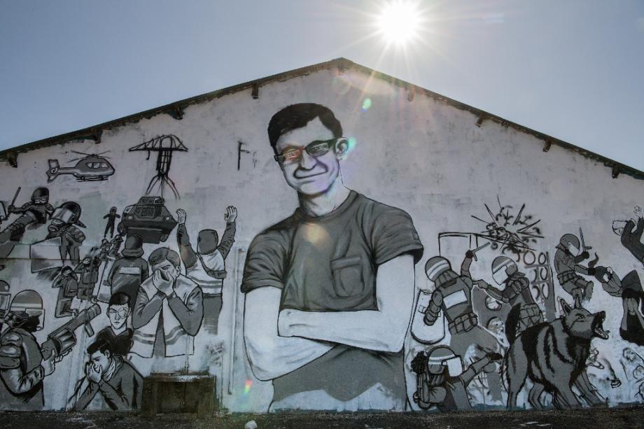 Une fresque représentant un portrait de Steve Canico, disparu depuis le 21 juin 2019 prise en photo à Nantes le 29 juillet 2019