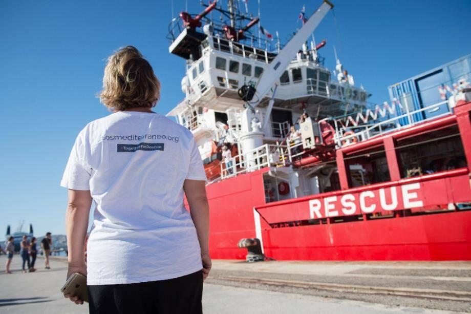 Le navire Ocean Viking accoste à Marseille, le 29 juillet 2019
