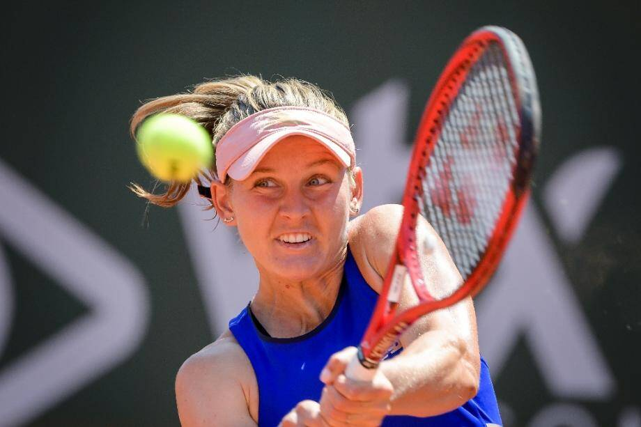 La Française Fiona Ferro face à sa compatriote Alizé Cornet en finale du tournoi WTA de Lausanne, le 21 juillet 2019.