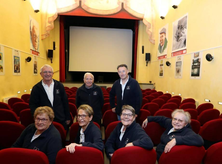 Georges,Clément, Frédéric, Jeannine, Chantal, Annie et Irène, les sept mercenaires du 7e art à Sospel.